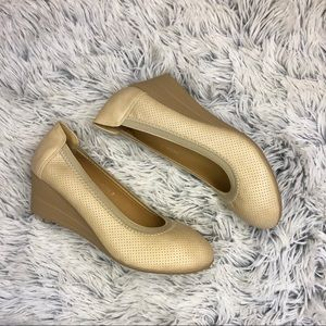 Beige Wedge Heel Shoes